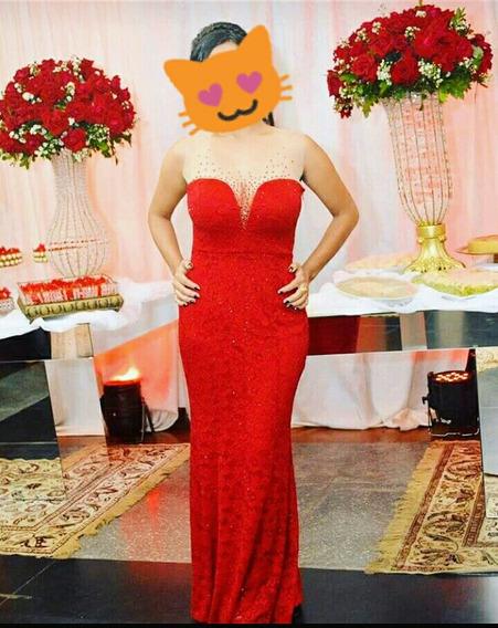 Vestido Festa Longo Vermelho Formatura Direito / Madrinha