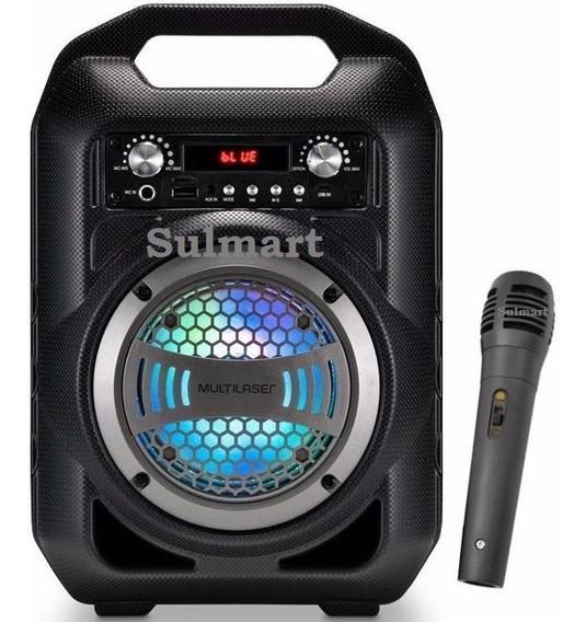 Caixa De Som Portátil Bluetooth Mp3 Rádio Fm Microfone Luzes