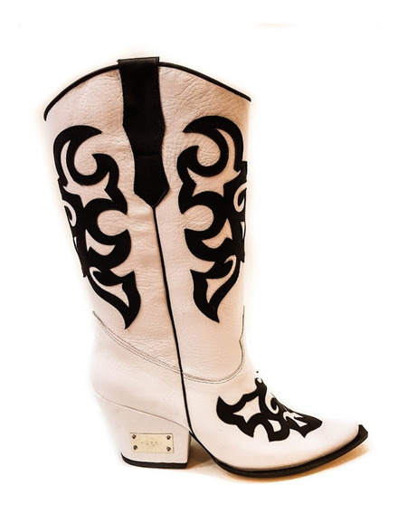 Botas Texanas De Luciano Marra Dallas Black/ White