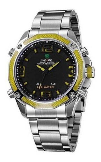 Relógio Masculino Anadigi Weide Wh-2306 Prata E Amarelo