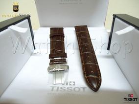 Pulseira De Couro Tissot T086407 22mm Marrom - Original