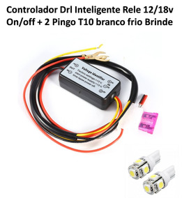 Controlador Drl Inteligente Rele 12/18v On/off + 2 Pingo T10