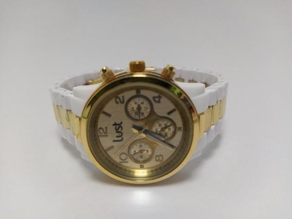 Relógio Lust Branco Com DouradoModelo 3 Ponteiros.