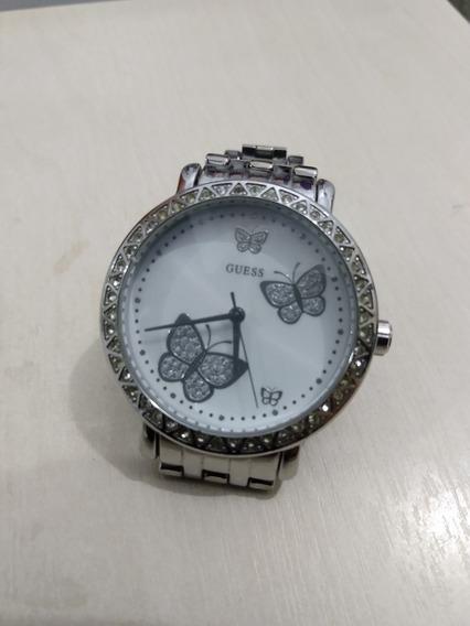 Relógio De Pulso Guess Cor Prata De Borboletas Com Swarovski