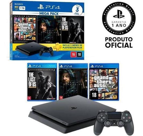 Playstation 4 Slim 1 Tb Gta V Death Stranding Last Of Us Ps4