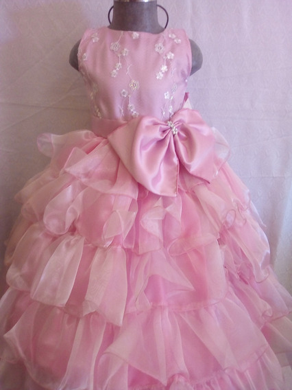 Vestido Presentación Color Rosa Palo Niña Talla 2