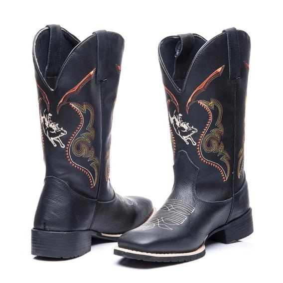 Bota Texana Masculino Em Couro Legitimo Boi Pulando Preto