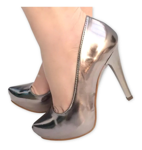 Sapato Salto Alto Fino Meia Pata Metalizado Prata Velho Ouro