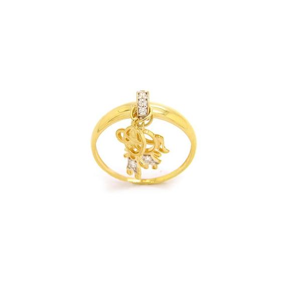 Anel Com Pingente Casal Em Ouro 18k - Ov / 6035