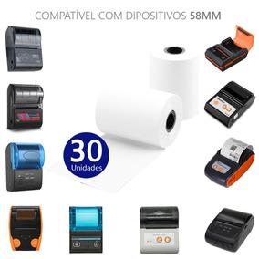 Bobina Térmica Branca Impressora 57x30mm Pacote 30 Unidades