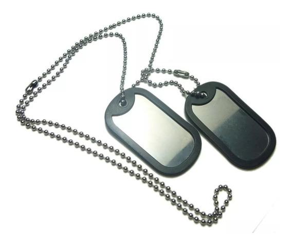 Corrente E Placa Identificação Militar Dog Tag Ref: 307