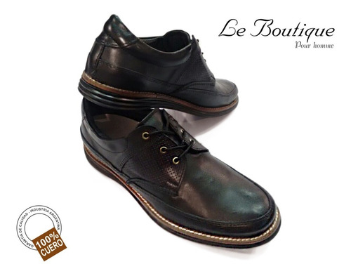 Zapato Hombre 100% Cuero Negro Foot Notes 1120 Hot Sale