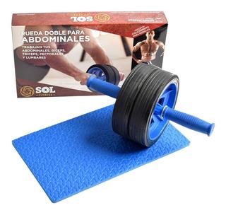 Rueda Abdominal Doble Desarmable + Colchoneta Sol Fitness