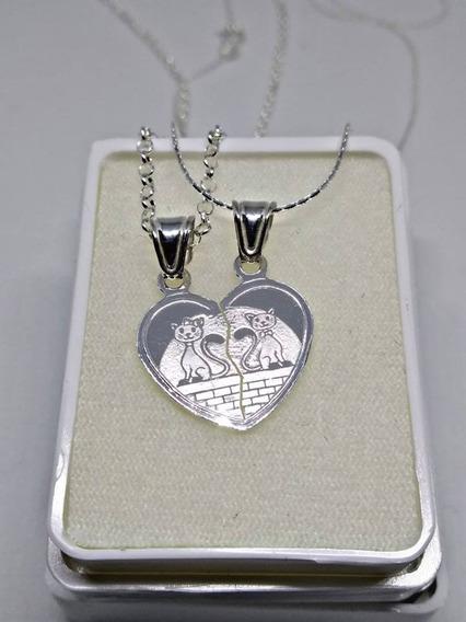 Collar Plata 925 Corazón Pareja 14 Febrero Amor Amistad