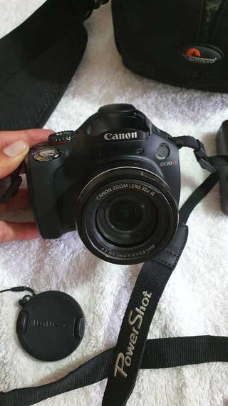 Câmera Fotográfica Canon Sx30 Is Com Flash Canon 430 Ex Ii
