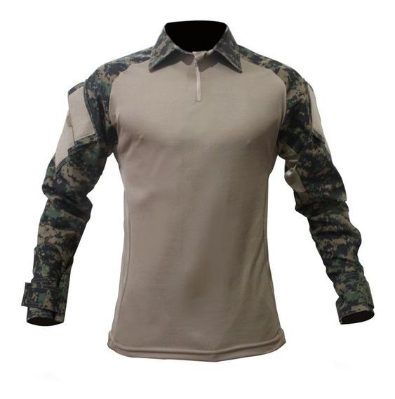 Camisa Combat T-shirt Tática Militar Camuflado Exército