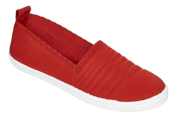 Capa De Ozono Tenis Slip On,mujer Textil Rojo