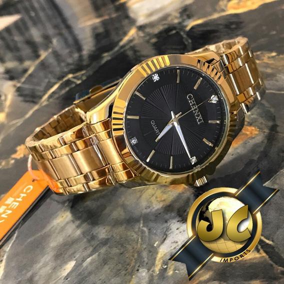 Relógio Banhado A Ouro Chenxi Prova Dagua De Aço Inoxidável