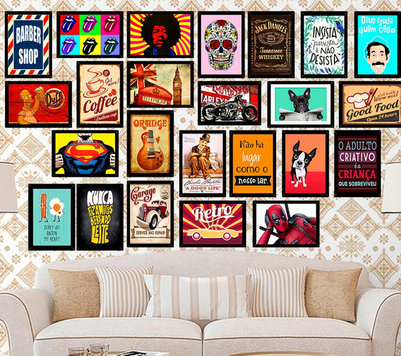 Kit 10 Placas Decorativas Gravuras Frase Animais Herói 14x20