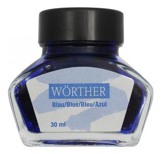 3x Vidro De Tinta Worther Alemã P/ Caneta Tinteiro Azul 30ml