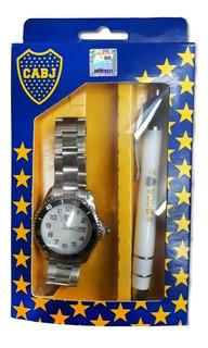Reloj Metalico Boca Juniors Y Boligrafo En Caja