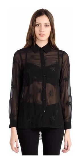Lee Camisa Maya Starry Shirt Gasa Bordada Color Negra