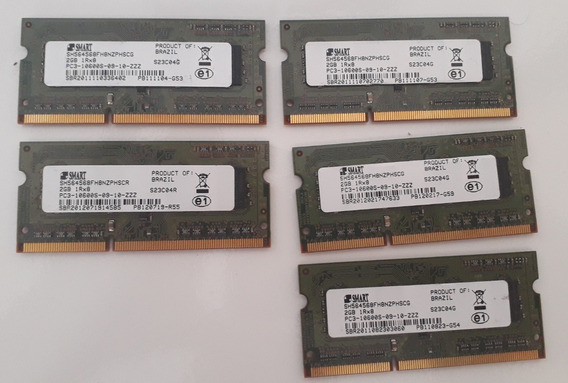 Lote 5 Memorias Smart Notebook 2gb Ddr3 Pc3 10600s