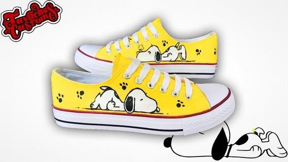 Tenis Personalizado Snoopy Pintado A Mano