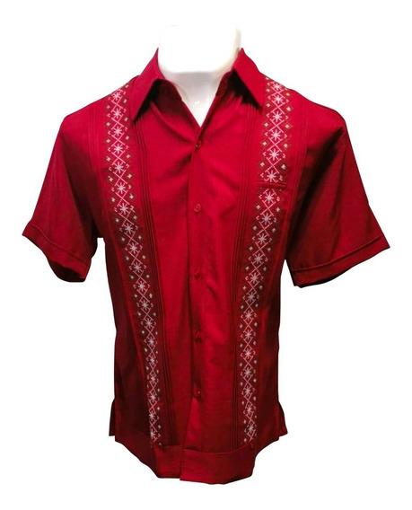 Camisa Guayabera Yucateca Mangacorta Cipre Bordado Artesanal
