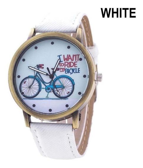 Relógio Pulso Padrão Bicicleta Unissex Denim Leather Strap