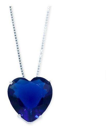 Colar De Prata 925 Com Pingente De Coração Azul