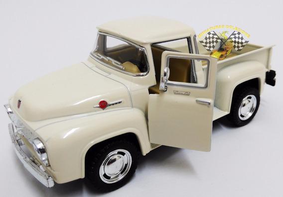 Miniatura Pickup Ford F-100 1956 Bege 1:38 Kinsmart