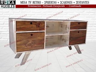 Mesa De Tv Retro 2 Cajones 1.20x0.30x0.60 Patinado Combinado