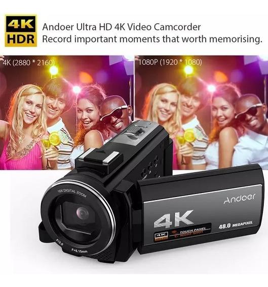 Camera Digital Andoer Wi-fi 4k 48mp +microfone Externo
