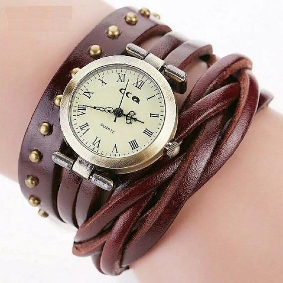 Relógio Vintage De Couro Trançado Retrô Moda Promoção