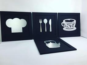 Quadros Bar Casa Cozinha Gourmet Presente Kit 4 Promoção