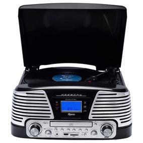 Vitrola Toca Disco 10w Rms Raveo Harmony Bt Usb Rádio Fm Cd
