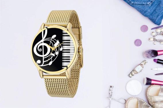 Relógio De Pulso Personalizado Instrumento Musical Piano Fem