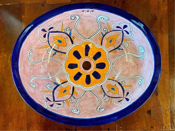 Lavabo Ovalin Gigante Artesanal Talavera Estilo Antiguo Rosa