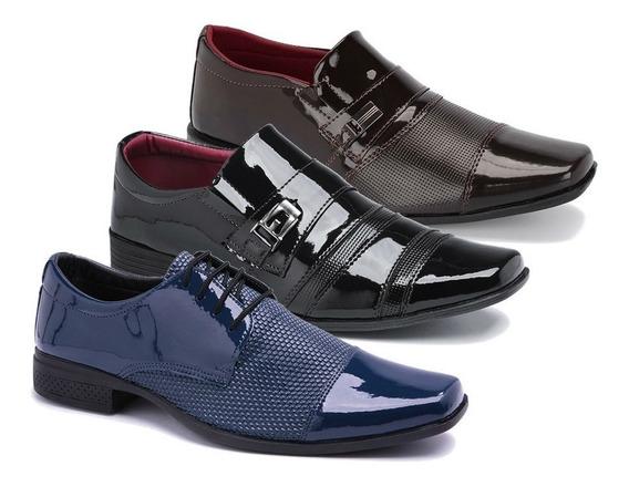 Kit 3 Pares Sapato Social Menor Preço Envernizado K18