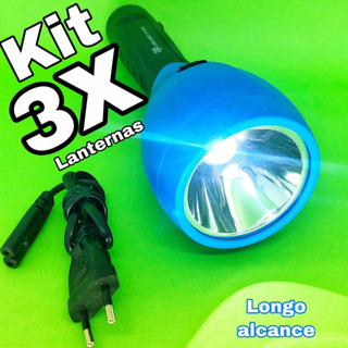 Kit 3 Lanternas Longo Alcance Dp-961b (caça,pesca E Camping)