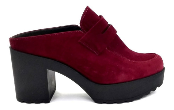 Sapato Mule Moleca Salto Grosso Nobuck Vinho 5647
