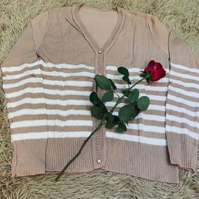 Blusa De Frio Cardigan Suéter Lã Tricot Listrada Feminina