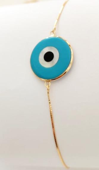 Pulseira Corrente Veneziana Olho Grego Turquesa Ouro18k 15cm