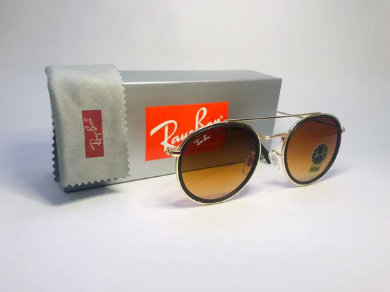 Óculos De Sol Ray Ban Doublé Bridge Marrom Degrade Rb3647