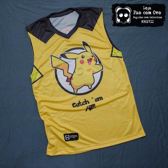 Camiseta Pikachu Regata Pokemon Basquete Alongada Unissex