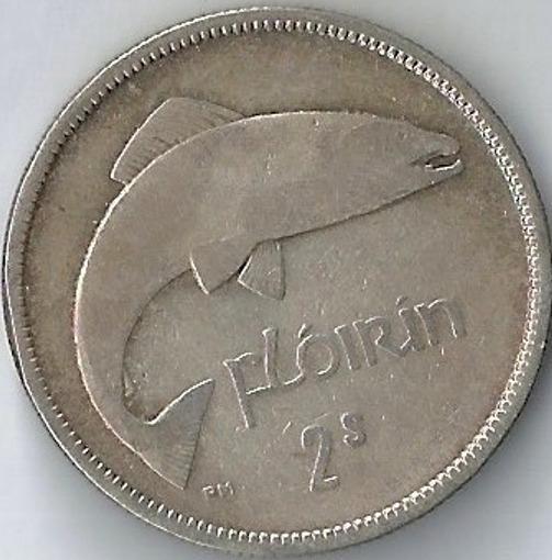 Irlanda 1933 1 Florin Moneda De Plata Pez Xxz087