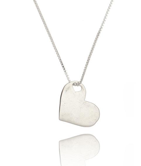 Colar Feminino Prata 950 Pingente Coração