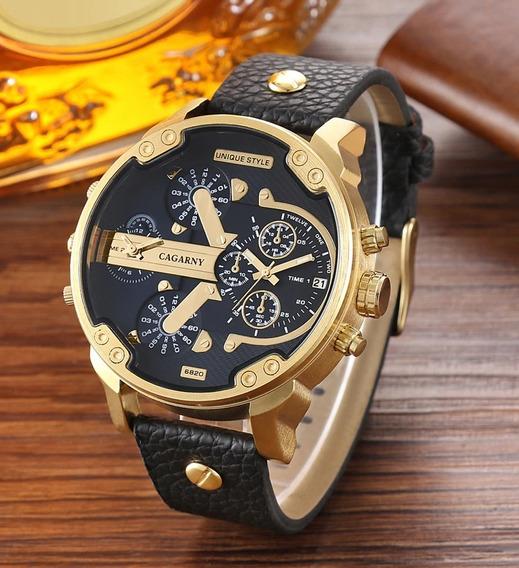 Relógio Masculino Esportivo Cagarny Pulseira Couro Original