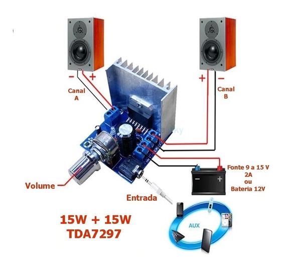 Placa Módulo Amplificador 15w + 15w Estéreo Tda7297- Montado